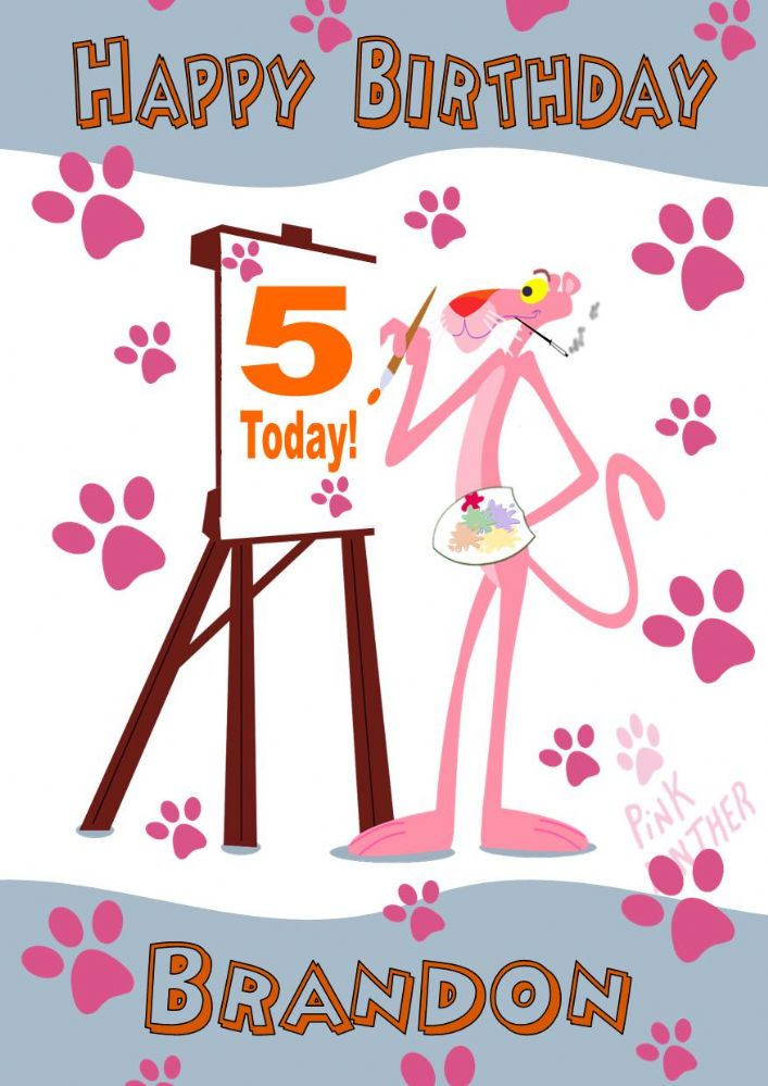 Personalised Pink Panther Birthday Card